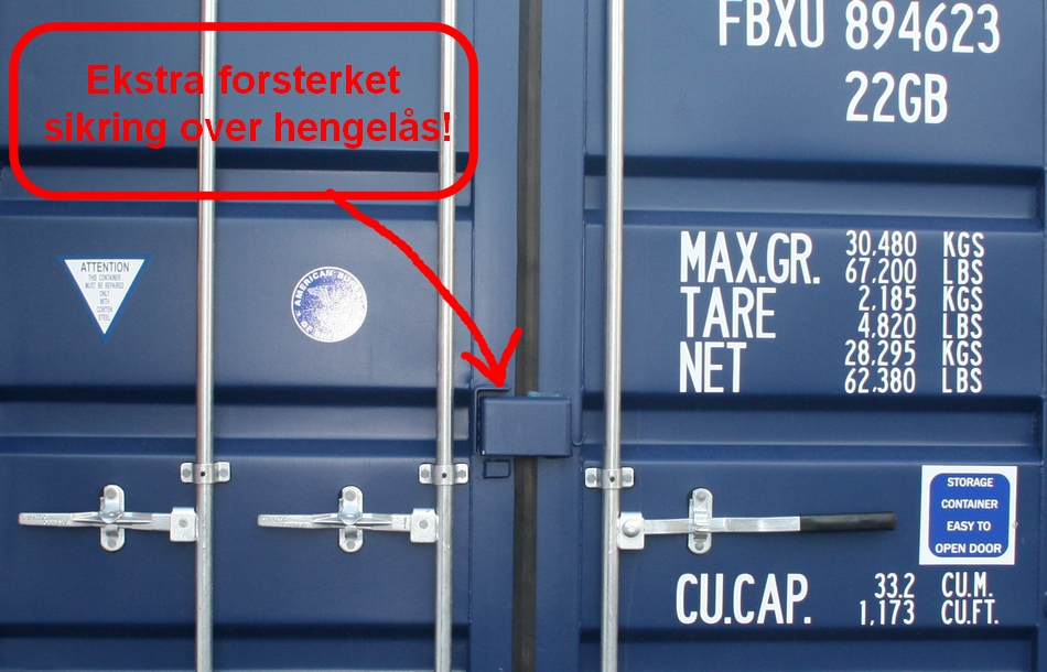 20 fot  utleiecontainer sikring over hengelås